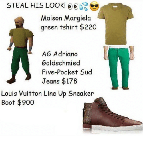 Steal His Look: STEAL HIS LOOK!  Maison Margiela  green tshirt $220  AG Adriano  Goldschmied  Five-Pocket Sud  Jeans $178  Louis Vuitton Line Up Sneaker  Boot 900