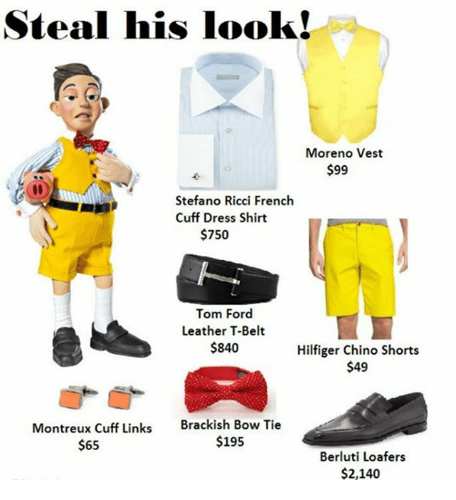 Fords: Steal his look!  Moreno Vest  $99  Stefano Ricci French  Cuff Dress Shirt  $750  Tom Ford  Leather T-Belt  $840  Hilfiger Chino Shorts  $49  Montreux Cuff Links  $65  Brackish Bow Tie  $195  Berluti Loafers  $2,140