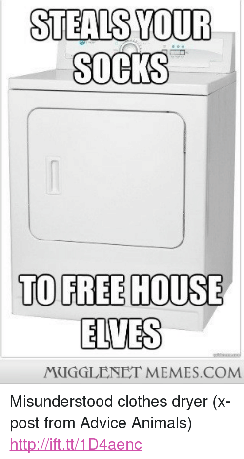 "Advice Animals: STEALS YOUR  SOCKS  TO FREE HOUSE  ELVES  MUGGLENET MEMES.COM <p>Misunderstood clothes dryer (x-post from Advice Animals) <a href=""http://ift.tt/1D4aenc"">http://ift.tt/1D4aenc</a></p>"