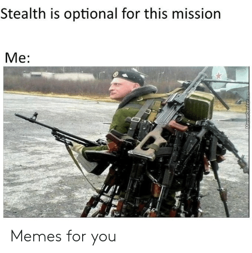 stealth: Stealth is optional for this mission  Me:  MemeCenter.com Memes for you