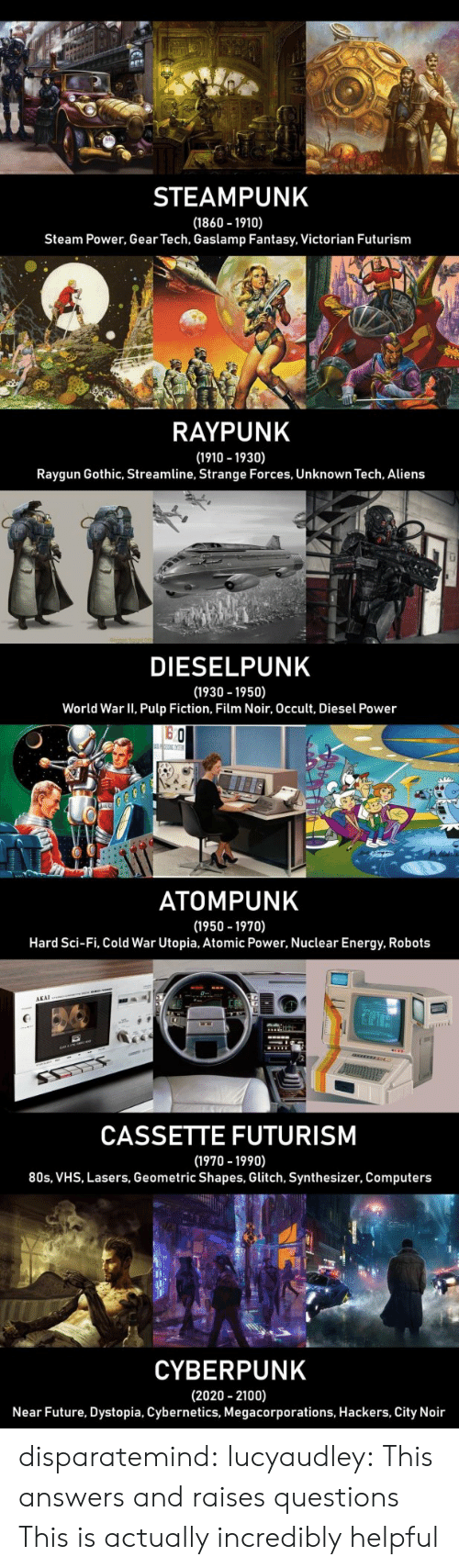 sci fi: STEAMPUNK  (1860 1910)  Steam Power, Gear Tech, Gaslamp Fantasy, Victorian Futurism  RAYPUNK  (1910 -1930)  Raygun Gothic, Streamline, Strange Forces, Unknown Tech, Aliens  LI  DIESELPUNK  (1930 -1950)  World War II, Pulp Fiction, Film Noir, Occult, Diesel Power  o Ch  ATOMPUNK  (1950 -1970)  Hard Sci-Fi, Cold War Utopia, Atomic Power, Nuclear Energy, Robots  AKAI  CASSETTE FUTURISM  (1970 -1990)  80s, VHS, Lasers, Geometric Shapes, Glitch, Synthesizer, Computers  CYBERPUNK  (2020 2100)  Near Future, Dystopia, Cybernetics, Megacorporations, Hackers, City Noir disparatemind: lucyaudley: This answers and raises questions   This is actually incredibly helpful