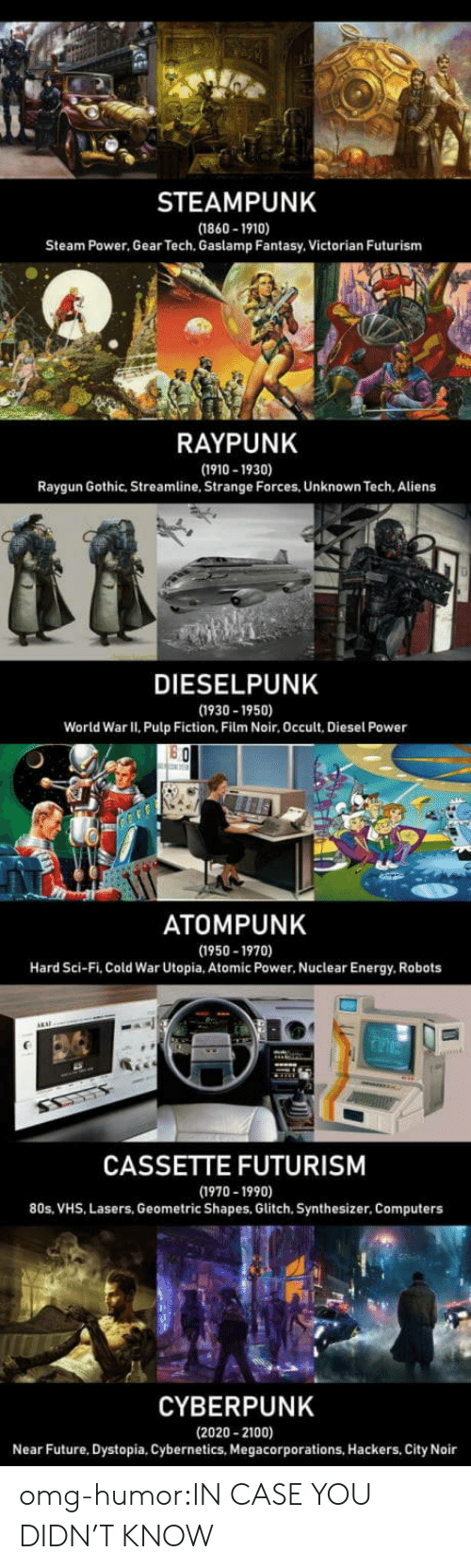 sci fi: STEAMPUNK  (1860-1910)  Steam Power, Gear Tech. Gaslamp Fantasy. Victorian Futurism  RAYPUNK  (1910-1930)  Raygun Gothic, Streamline, Strange Forces, Unknown Tech. Aliens  DIESELPUNK  (1930 -1950)  World War II, Pulp Fiction, Film Noir, Occult, Diesel Power  ATOMPUNK  (1950-1970)  Hard Sci-Fi, Cold War Utopia, Atomic Power, Nuclear Energy, Robots  CASSETTE FUTURISM  (1970-1990)  80s, VHS, Lasers, Geometric Shapes, Glitch, Synthesizer, Computers  CYBERPUNK  (2020- 2100)  Near Future, Dystopia, Cybernetics, Megacorporations, Hackers, City Noir omg-humor:IN CASE YOU DIDN'T KNOW