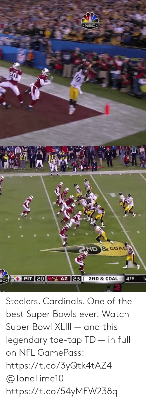 Steelers: Steelers. Cardinals. One of the best Super Bowls ever.  Watch Super Bowl XLIII — and this legendary toe-tap TD — in full on NFL GamePass: https://t.co/3yQtk4tAZ4 @ToneTime10 https://t.co/54yMEW238q