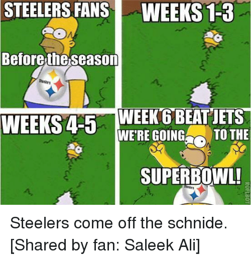 Steelers: STEELERS FANS WEEKS 1-3  Before the season  WEEKS 4-5  WEEK 6 BEAT JETS  WERE GOING  TO THE  SUPERBOWL! Steelers come off the schnide.   [Shared by fan: Saleek Ali]