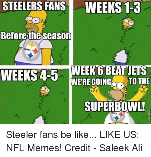 steelers fans be like: STEELERS FANS WEEKS 1-3  Before the Season  WEEKS 4-5  WEEK 6 BEAT JETS  WERE GOING  TO THE  SUPERBOWL! Steeler fans be like...