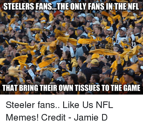 Steelers: STEELERS FANSA..THE ONLY FANSINTHE NFL  THAT BRING THEIR OWN TISSUESTO THE GAME Steeler fans..  Like Us NFL Memes!  Credit -  Jamie D