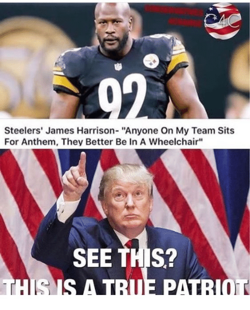 "Steelers, James Harrison, and James: Steelers' James Harrison- ""Anyone On My Team Sits  For Anthem, They Better Be In A Wheelchair""  SEE THIS?"