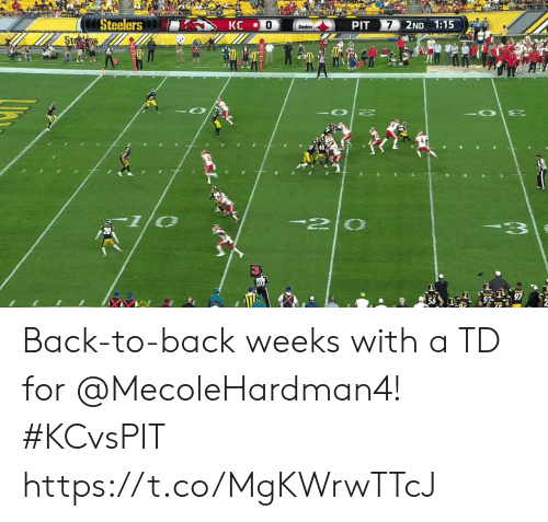 Back to Back: Steelers  PIT  7  2ND 1:15  KC  Steelers  Stees  2 Back-to-back weeks with a TD for @MecoleHardman4! #KCvsPIT https://t.co/MgKWrwTTcJ