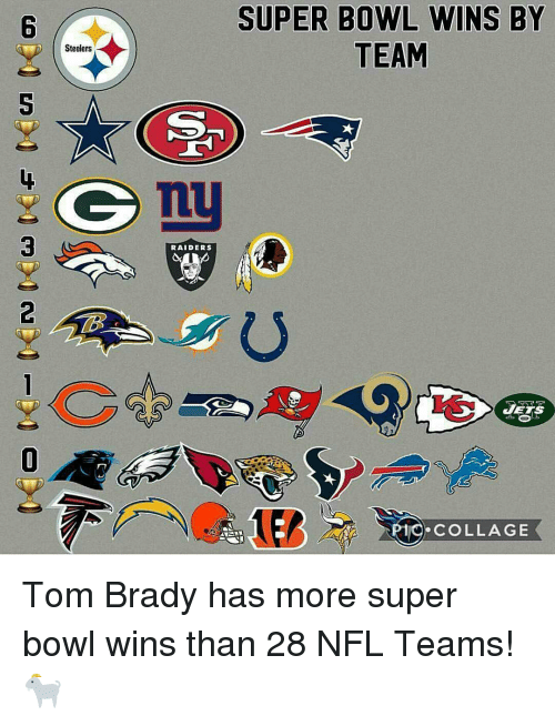 Memes, 🤖, and Jet: Steelers  RAIDERS  SUPER BOWL WINS BY  TEAM  JETS  COLLAGE Tom Brady has more super bowl wins than 28 NFL Teams! 🐐