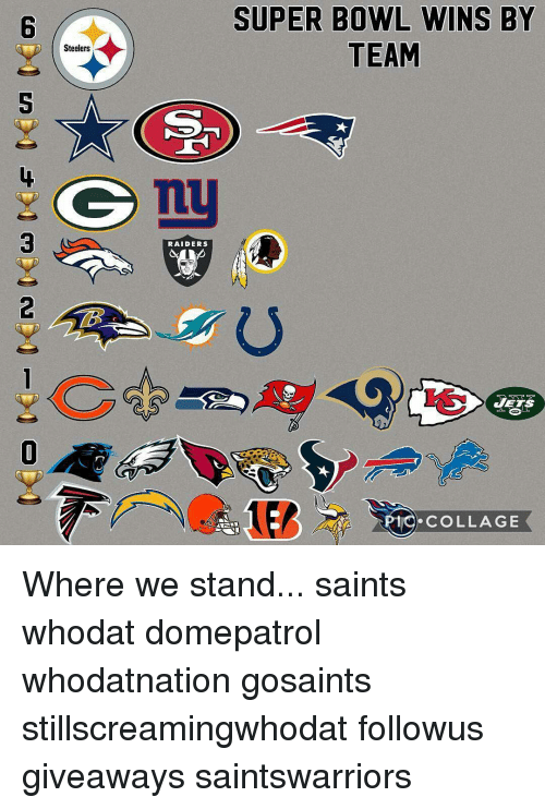 Memes, 🤖, and Saint: Steelers  RAIDERS  SUPER BOWL WINS BY  TEAM  MIO COLLAGE Where we stand... saints whodat domepatrol whodatnation gosaints stillscreamingwhodat followus giveaways saintswarriors