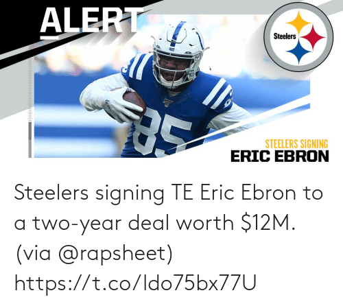Signing: Steelers signing TE Eric Ebron to a two-year deal worth $12M. (via @rapsheet) https://t.co/ldo75bx77U