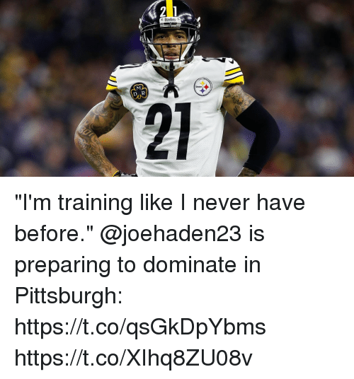 "Memes, Pittsburgh, and Steelers: Steelers  Steelers ""I'm training like I never have before.""  @joehaden23 is preparing to dominate in Pittsburgh: https://t.co/qsGkDpYbms https://t.co/XIhq8ZU08v"