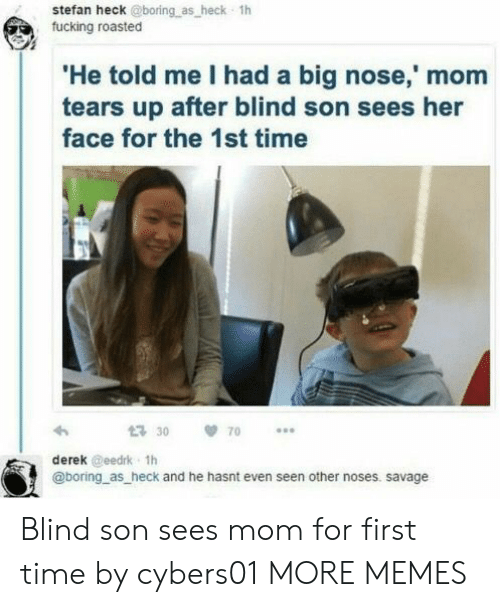 Big Nose: stefan heck @boring as heck 1h  fucking roasted  He told me I had a big nose,' mom  tears up after blind son sees her  face for the 1st time  30 70  derek @eedrk 1h  @boring as heck and he hasnt even seen other noses. savage Blind son sees mom for first time by cybers01 MORE MEMES