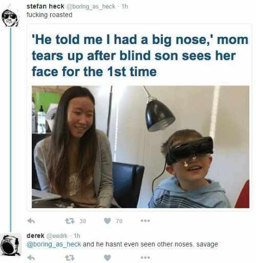 Big Nose: stefan heck @boring as_heck 1h  fucking roasted  He told me I had a big nose,' mom  tears up after blind son sees her  face for the 1st time  3070  derek @eedrk 1h  @boring as_heck and he hasnt even seen other noses. savage  L3