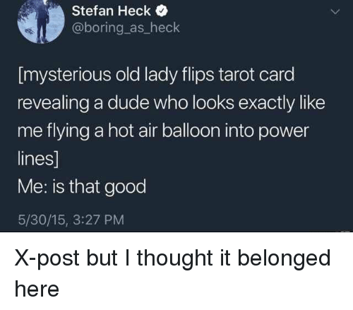 hot air balloon: Stefan Heck  @boring as_heck  [mysterious old lady flips tarot card  revealing a dude who looks exactly like  me flying a hot air balloon into power  lines]  Me: is that good  5/30/15, 3:27 PM X-post but I thought it belonged here