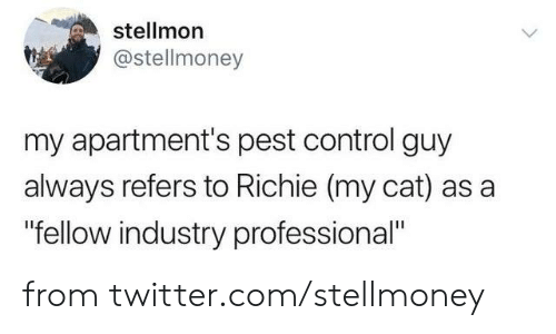 "pest: stellmon  @stellmoney  my apartment's pest control guy  always refers to Richie (my cat) as a  ""fellow industry professional"" from twitter.com/stellmoney"