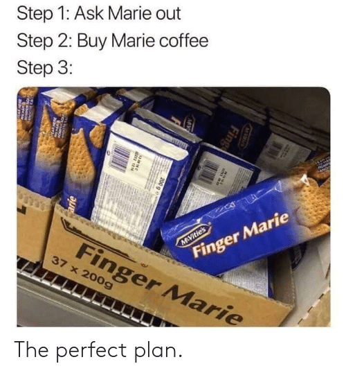 Step 1: Step 1: Ask Marie out  Step 2: Buy Marie coffee  Step 3:  AP  Finger Marie  M Vitie's  Finger Marie  37 x 200g  M S  Fing  MV  200 g e  38N  arie  w The perfect plan.