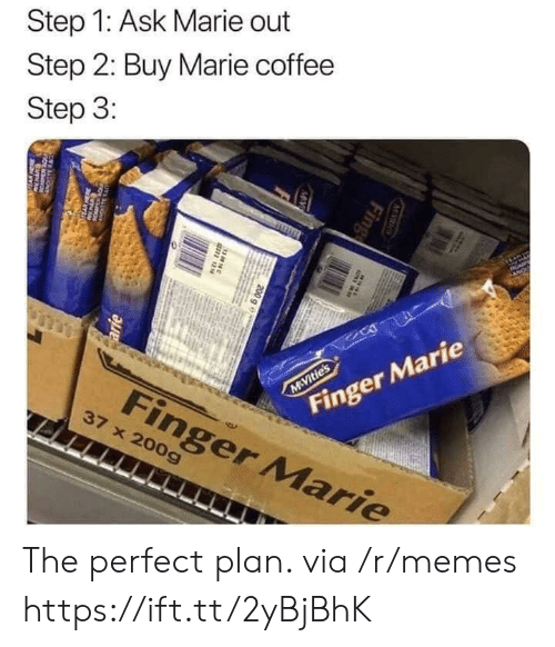 Step 1: Step 1: Ask Marie out  Step 2: Buy Marie coffee  Step 3:  AP  Finger Marie  M Vitie's  Finger Marie  37 x 200g  M S  Fing  MV  200 g e  38N  arie  w The perfect plan. via /r/memes https://ift.tt/2yBjBhK