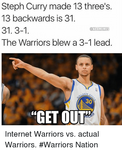 "Internet, Nba, and Steph Curry: Steph Curry made 13 three's  13 backwards is 31.  31. 3-1  a NBAMEMES  The Warriors blew a 3-1 lead  DEN  30  ""GET OUT Internet Warriors vs. actual Warriors.  #Warriors Nation"