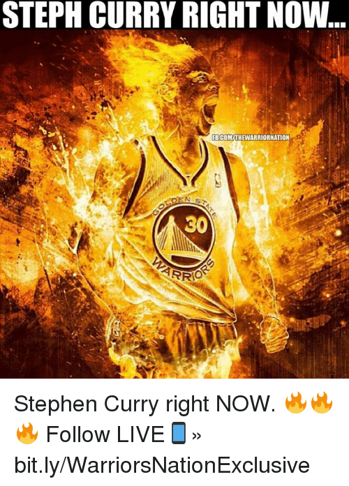 NBA: STEPH CURRY RIGHT NOW  FBCOMITHEWARRIORNATION  30  ARRO Stephen Curry right NOW. 🔥🔥🔥  Follow LIVE📱» bit.ly/WarriorsNationExclusive
