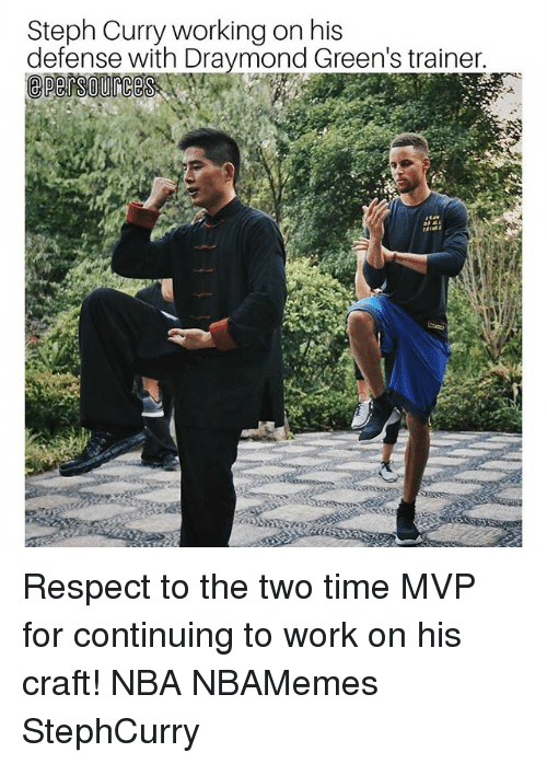 Memes, Nba, and Respect: Steph Curry working on his  defense with Draymond Green's trainer. Respect to the two time MVP for continuing to work on his craft! NBA NBAMemes StephCurry