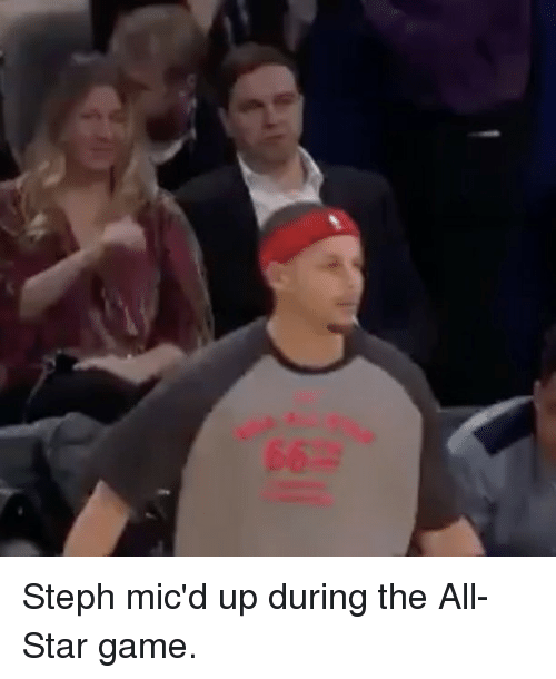 All Star, Basketball, and Golden State Warriors: Steph mic'd up during the All-Star game.
