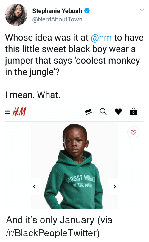 Blackpeopletwitter, Black, and Mean: Stephanie Yeboah  NerdAboutTown  Whose idea was it at@hm to have  this little sweet black boy wear a  jumper that says 'coolest monkey  in the jungle?  l mean. What.  0  OOLEST MONK  N THE JUN <p>And it's only January (via /r/BlackPeopleTwitter)</p>