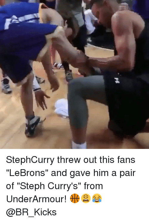 "Memes, 🤖, and Him: StephCurry threw out this fans ""LeBrons"" and gave him a pair of ""Steph Curry's"" from UnderArmour! 🏀😩😂 @BR_Kicks"