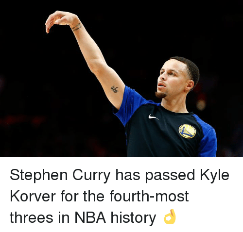 Threes: Stephen Curry has passed Kyle Korver for the fourth-most threes in NBA history 👌