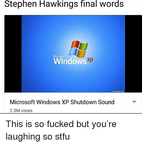Memes, Microsoft, and Stephen: Stephen  Hawkings  final  words  Microsoft  Windows  Microsoft Windows XP Shutdown Sound  2.3M views This is so fucked but you're laughing so stfu