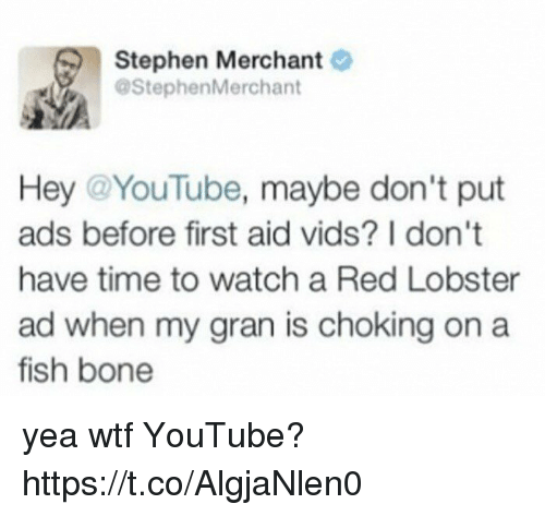 Funny, Stephen, and Wtf: Stephen Merchant  @Stephen Merchant  Hey @YouTube  maybe don't put  ads before first aid vids? I don't  have time to watch a Red Lobster  ad when my gran is choking on a  fish bone yea wtf YouTube? https://t.co/AlgjaNlen0