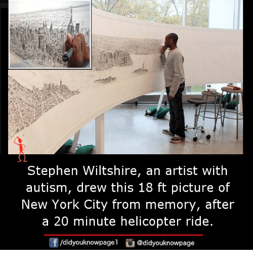 Memes, New York, and Stephen: Stephen Wiltshire, an artist with  autism, drew this 18 ft picture of  New York City from memory, after  a 20 minute helicopter ride.  /didyouknowpagel  @didyouknowpage