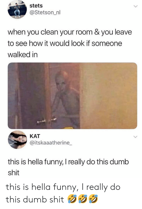 Hella Funny: stets  @Stetson_nl  when you clean your room & you leave  to see how it would look if someone  walked in  KAT  @itskaaatherine_  this is hella funny, I really do this dumb  shit this is hella funny, I really do this dumb shit 🤣🤣🤣