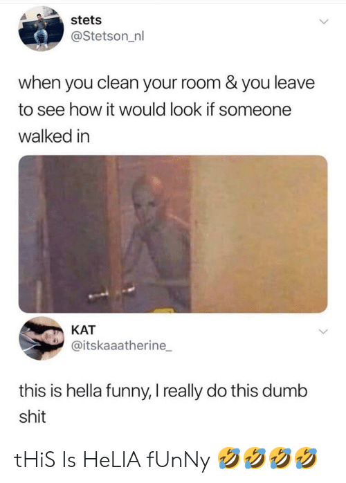 Hella Funny: stets  @Stetson_nl  when you clean your room & you leave  to see how it would look if someone  walked in  КАТ  @itskaaatherine  this is hella funny, I really do this dumb  shit tHiS Is HeLlA fUnNy 🤣🤣🤣🤣