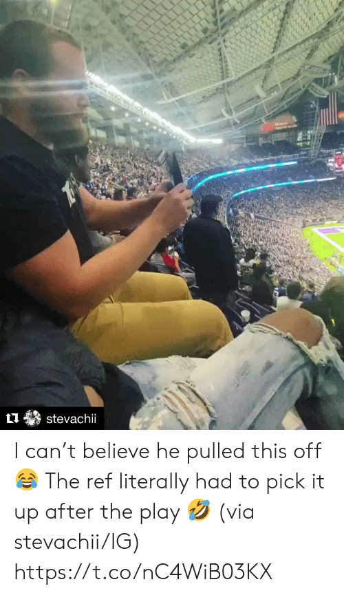 The Ref: stevachii I can't believe he pulled this off 😂  The ref literally had to pick it up after the play 🤣 (via stevachii/IG) https://t.co/nC4WiB03KX