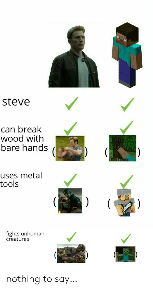 bare: steve  can break  wood with  bare hands  uses metal  tools  )  (  )  fights unhuman  creatures nothing to say…