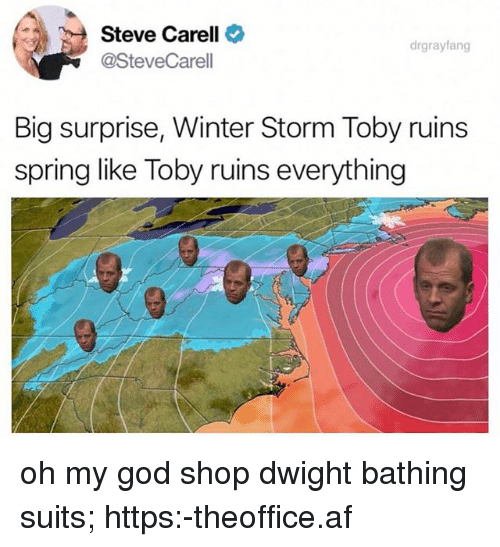 Af, God, and Memes: Steve Carell  @SteveCarell  drgrayfang  Big surprise, Winter Storm Toby ruins  spring like Toby ruins everything oh my god shop dwight bathing suits; https:-theoffice.af