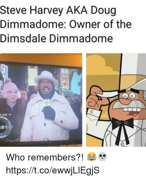 Doug, Steve Harvey, and Who: Steve Harvey AKA Doug  Dimmadome: Owner of the  Dimsdale Dimmadome  今  :01 Who remembers?! 😂💀 https://t.co/ewwjLlEgjS