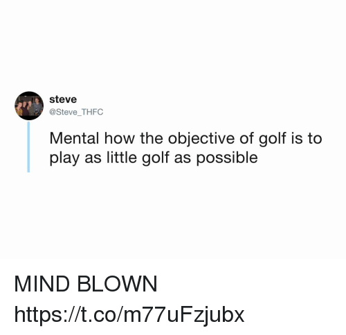 mind blown: steve  @Steve THFC  Mental how the objective of golf is to  play as little golf as possible MIND BLOWN https://t.co/m77uFzjubx