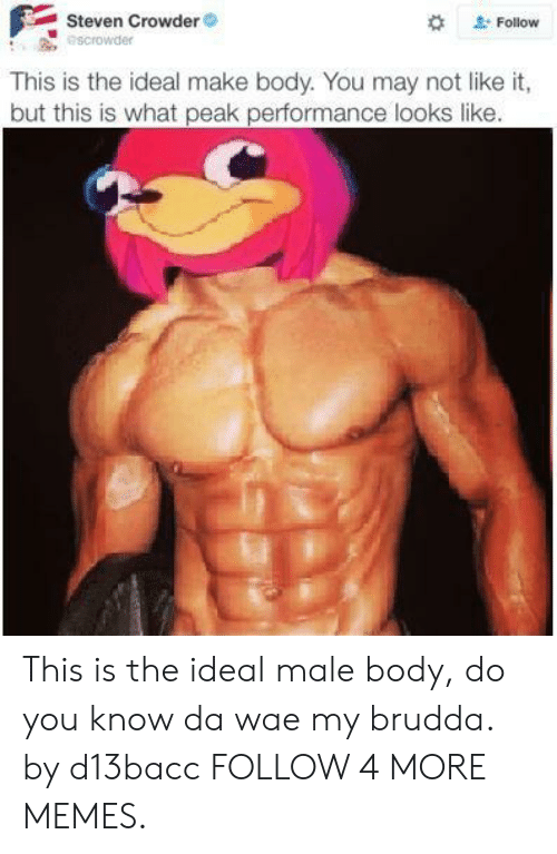 Crowder: Steven Crowder  escrowder  Follow  This is the ideal make body. You may not like it,  but this is what peak performance looks like. This is the ideal male body, do you know da wae my brudda. by d13bacc FOLLOW 4 MORE MEMES.