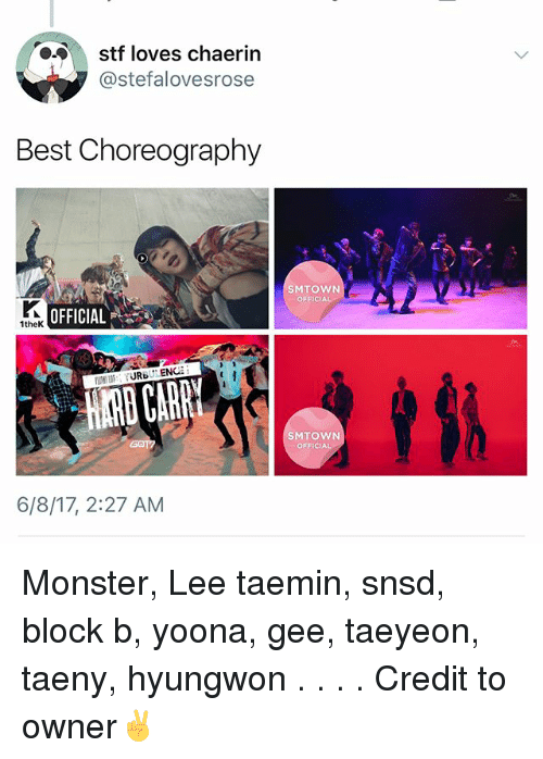 Choreography: stf loves chaerin  @stefalovesrose  Best Choreography  SMTOWN  OFFICIAL  OFFICIAL  1theK  SMTOWN  OFFICIAL  6/8/17, 2:27 AM Monster, Lee taemin, snsd, block b, yoona, gee, taeyeon, taeny, hyungwon . . . . Credit to owner✌