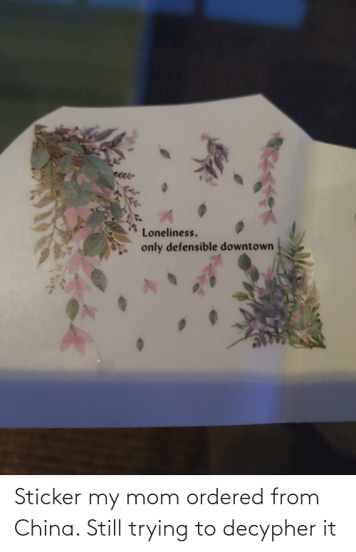 Sticker: Sticker my mom ordered from China. Still trying to decypher it