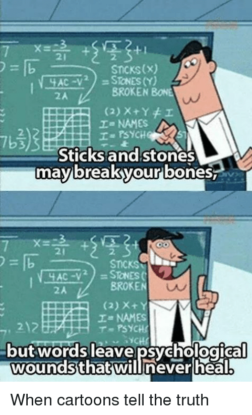 Bones, Memes, and Break: STICKS (X)  STNES (Y)  YAC  BROKEN BONE  I NAMES A  Sticks and stones  may break your  bones  STICKS  SToNESC  AC -V  BROKE  I NAMES  T PSYCH!  wounds that will never heal When cartoons tell the truth