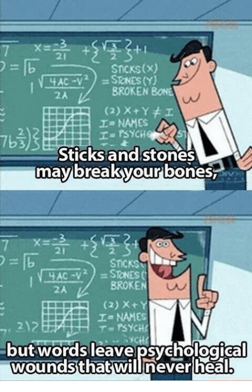 Bones, Funny, and Psych: STICKS (x)  SToNES (Y)  BROKEN  BONE  (2) x Y I  Ia PSYCHQ  Sticks and stones  may break your bones  STICKS  AC -V  BROKEN  I NAMES  T PSYCHE  Out Words leave psychological  wounds that will never heal