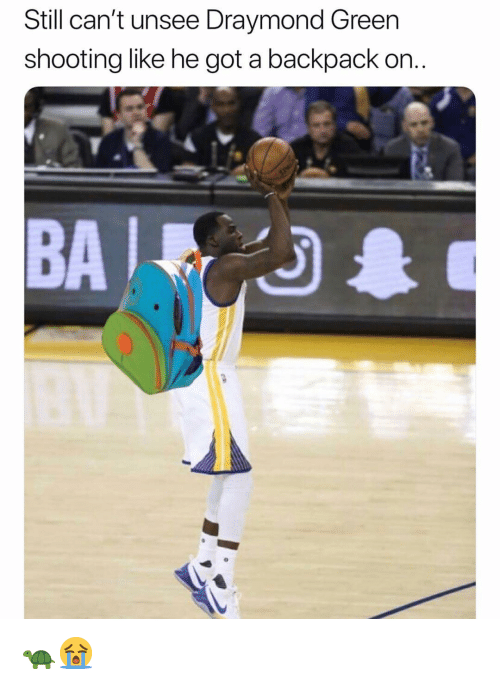 Draymond Green: Still can't unsee Draymond Green  shooting like he got a backpack on.  BA 🐢😭