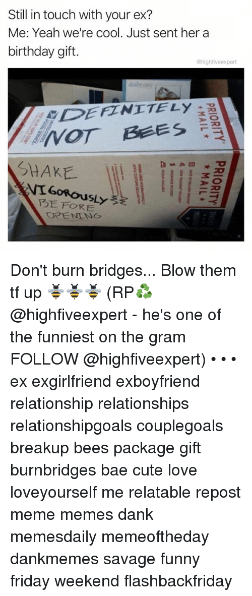 hes: Still in touch with your ex?  Me: Yeah we're cool. Just sent her a  birthday gift.  @highfiveexpert  dailwぶ!  DEFZNITELy  SHAKE  FORE Don't burn bridges... Blow them tf up 🐝🐝🐝 (RP♻️ @highfiveexpert - he's one of the funniest on the gram FOLLOW @highfiveexpert) • • • ex exgirlfriend exboyfriend relationship relationships relationshipgoals couplegoals breakup bees package gift burnbridges bae cute love loveyourself me relatable repost meme memes dank memesdaily memeoftheday dankmemes savage funny friday weekend flashbackfriday