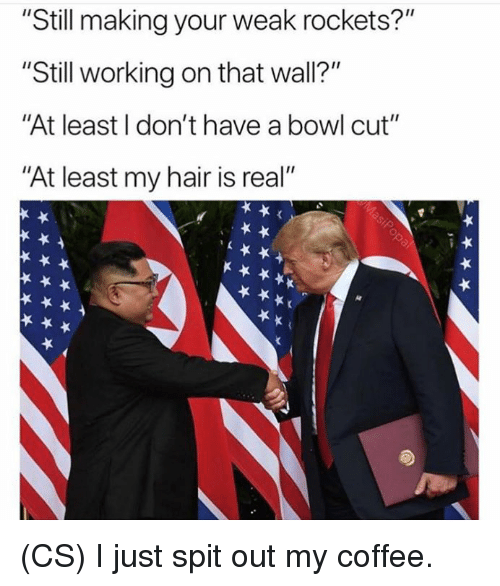 "Memes, Coffee, and Hair: ""Still making your weak rockets?""  ""Still working on that wall?""  ""At least I don't have a bowl cut""  ""At least my hair is real"" (CS) I just spit out my coffee."