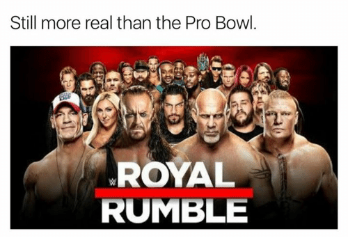 royal rumble: Still more real than the Pro Bowl.  ROYAL  RUMBLE