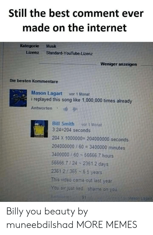 shame on you: Still the best comment ever  made on the internet  Kategorie Musk  Lizenz Standard-YouTube-Lizenz  Weniger anzeigen  Die besten Kommentare  Mason Lagart vor 1 Monat  i replayed this song like 1,000,000 times already  Antworten  Bill Smith vor 1 Manat  3:24-204 seconds  204 X 1000000 204000000 seconds  204000000/60 3400000 minutes  3400000/60 56666.7 hours  56666.7 1 24 2361.2 days  2361 2/365 65 years  This video came out last year  You sir just lied shame on you Billy you beauty by muneebdilshad MORE MEMES