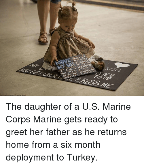 Memes, Home, and Turkey: STILL The daughter of a U.S. Marine Corps Marine gets ready to greet her father as he returns home from a six month deployment to Turkey.